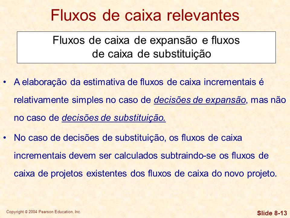 Copyright © 2004 Pearson Education, Inc. Slide 8-12 Fluxos de caixa relevantes Principais componentes do fluxo de caixa