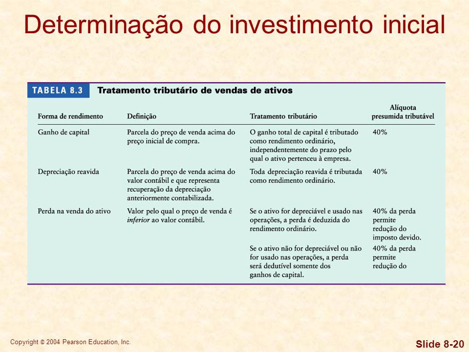 Copyright © 2004 Pearson Education, Inc. Slide 8-19 Determinação do investimento inicial