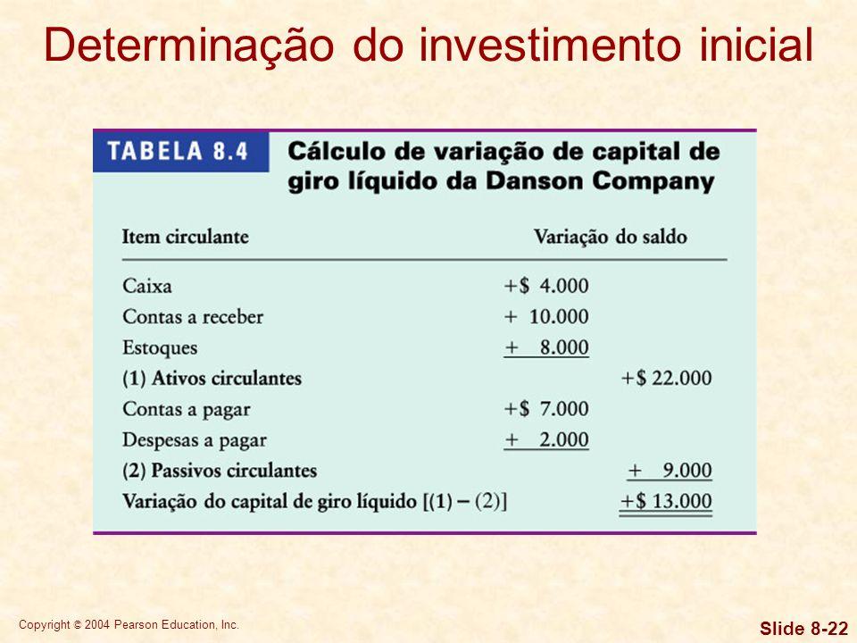 Copyright © 2004 Pearson Education, Inc. Slide 8-21 Determinação do investimento inicial