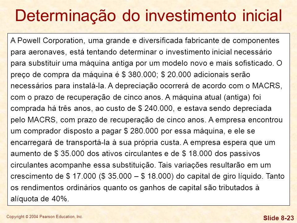 Copyright © 2004 Pearson Education, Inc. Slide 8-22 Determinação do investimento inicial