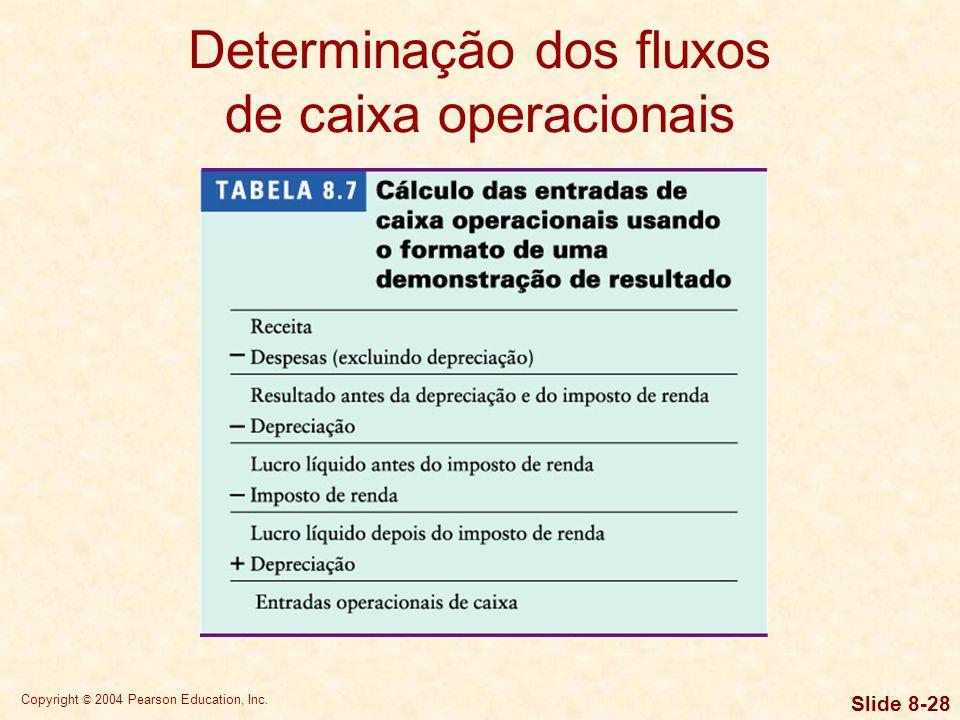 Copyright © 2004 Pearson Education, Inc. Slide 8-27 Determinação dos fluxos de caixa operacionais