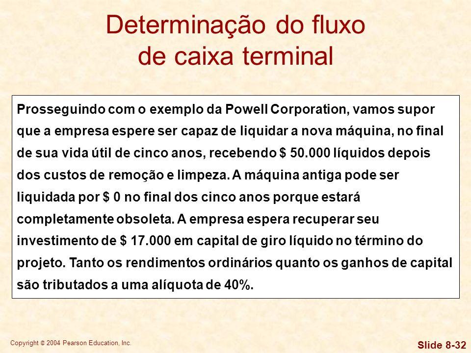 Copyright © 2004 Pearson Education, Inc. Slide 8-31 Determinação do fluxo de caixa terminal