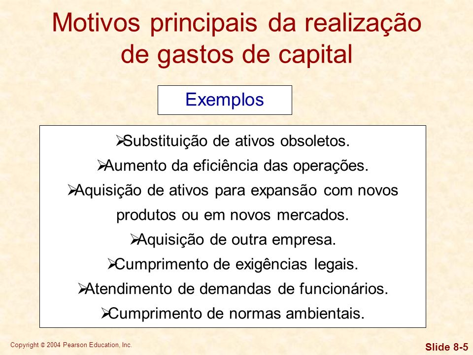 Copyright © 2004 Pearson Education, Inc.Slide 8-5 Substituição de ativos obsoletos.