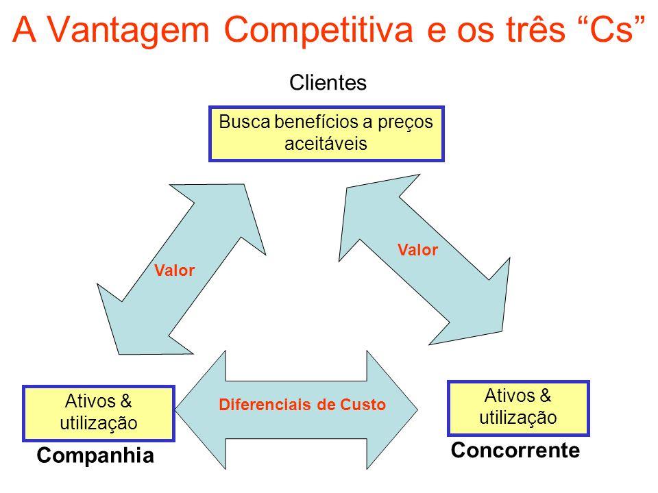 A Vantagem Competitiva e os três Cs Clientes Busca benefícios a preços aceitáveis Ativos & utilização Companhia Concorrente Diferenciais de Custo Valo