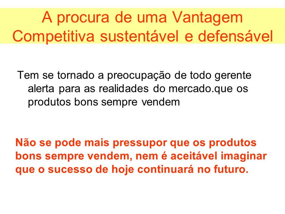 A procura de uma Vantagem Competitiva sustentável e defensável Tem se tornado a preocupação de todo gerente alerta para as realidades do mercado.que o