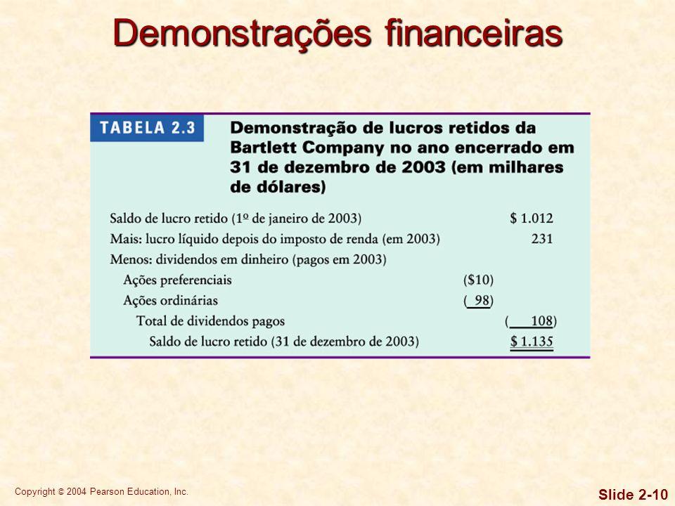Copyright © 2004 Pearson Education, Inc. Slide 2-9 A demonstração de lucros retidos concilia o lucro líquido obtido e os dividendos pagos durante o an