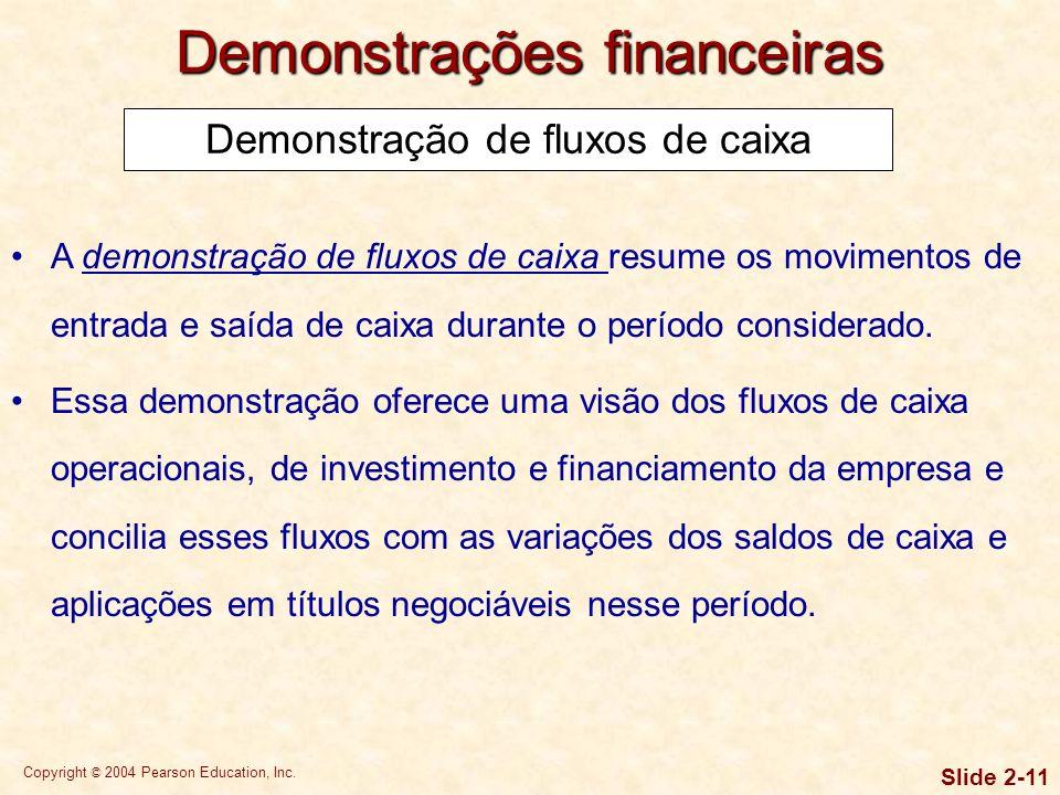 Copyright © 2004 Pearson Education, Inc. Slide 2-10 Demonstrações financeiras
