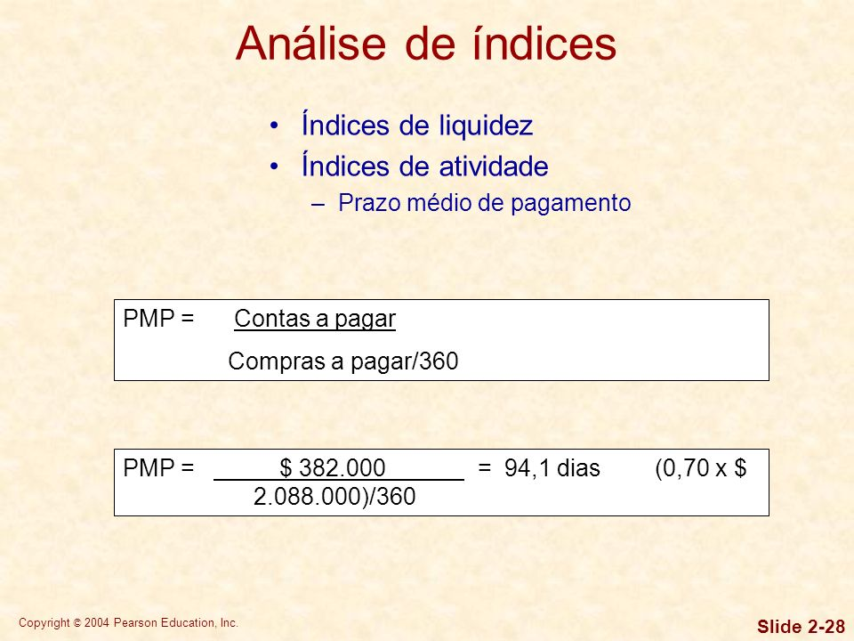Copyright © 2004 Pearson Education, Inc. Slide 2-27 Índices de liquidez Índices de atividade –Prazo médio de recebimento PMR = Contas a receber Vendas