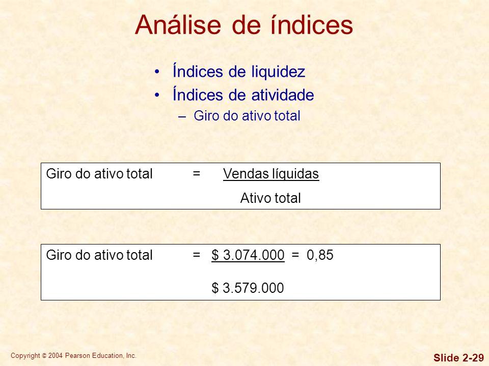 Copyright © 2004 Pearson Education, Inc. Slide 2-28 PMP = Contas a pagar Compras a pagar/360 Índices de liquidez Índices de atividade –Prazo médio de