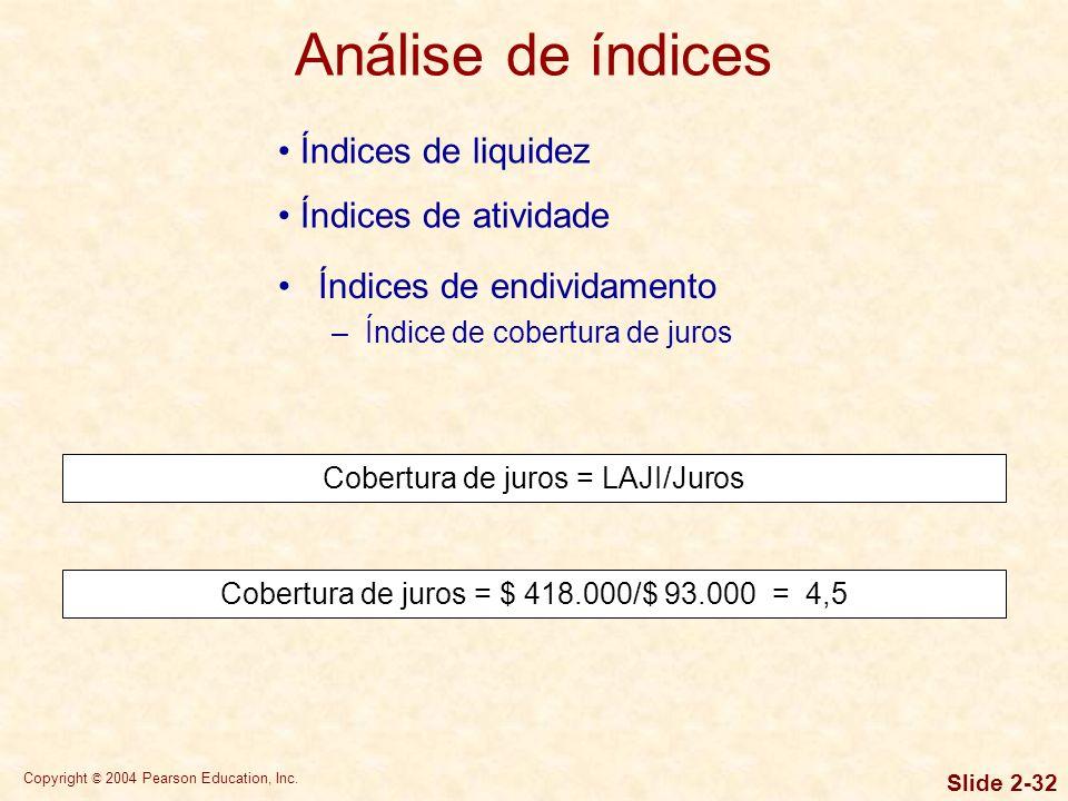 Copyright © 2004 Pearson Education, Inc. Slide 2-31 Índices de liquidez Índices de atividade Endividamento geral = Total dos passivos/Total dos ativos