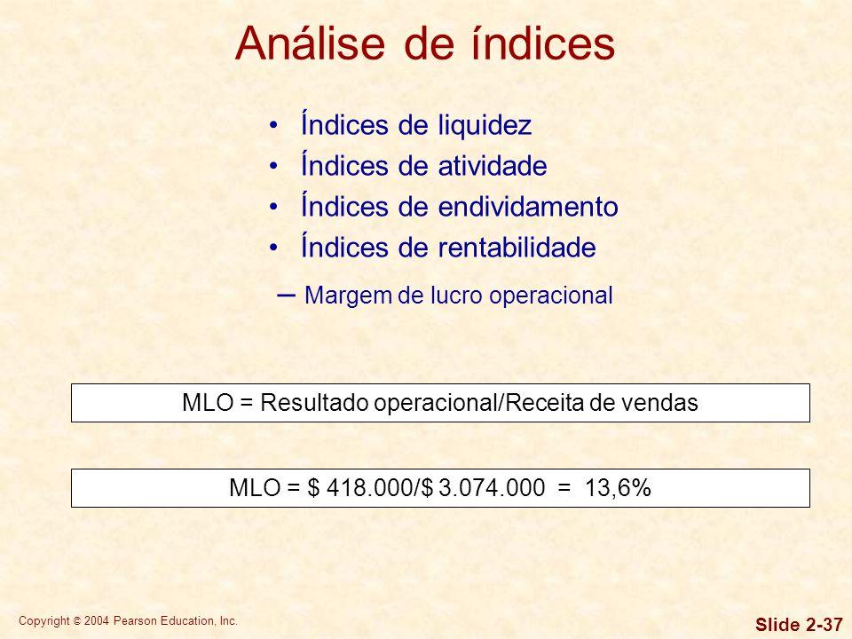 Copyright © 2004 Pearson Education, Inc. Slide 2-36 Índices de liquidez Índices de atividade Índices de endividamento MLB = Lucro bruto/Receita de ven