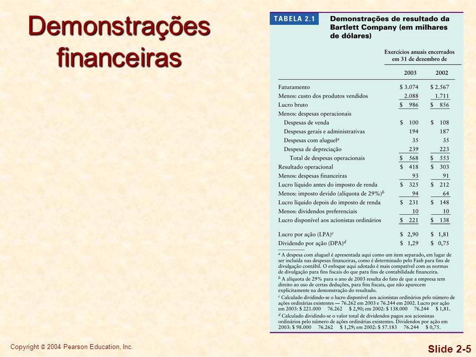 Copyright © 2004 Pearson Education, Inc. Slide 2-4 A demonstração do resultado do exercício oferece uma síntese financeira dos resultados operacionais