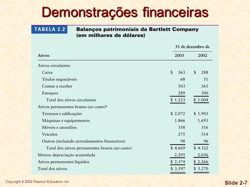 Copyright © 2004 Pearson Education, Inc. Slide 2-6 O balanço patrimonial apresenta um resumo da posição financeira de uma empresa em dado instante. Os
