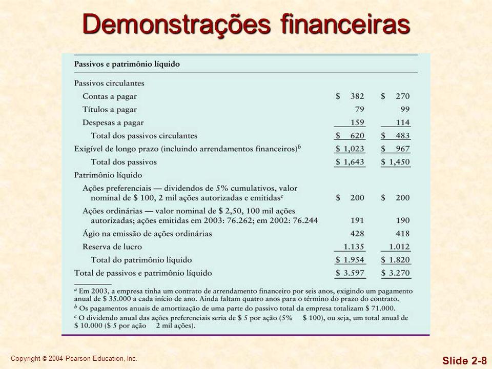 Copyright © 2004 Pearson Education, Inc. Slide 2-7 Demonstrações financeiras
