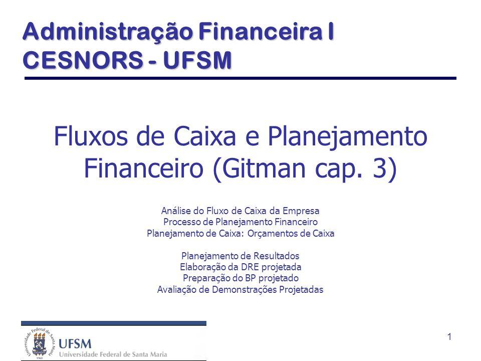 1 Fluxos de Caixa e Planejamento Financeiro (Gitman cap. 3) Análise do Fluxo de Caixa da Empresa Processo de Planejamento Financeiro Planejamento de C