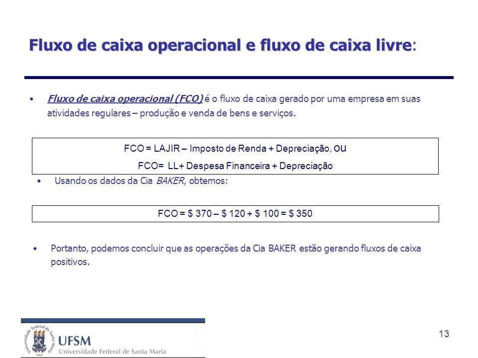 13 Fluxo de caixa operacional e fluxo de caixa livre Fluxo de caixa operacional e fluxo de caixa livre: Fluxo de caixa operacional (FCO) é o fluxo de