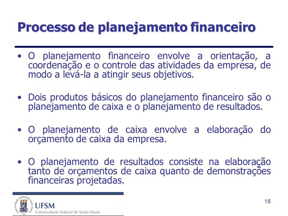 16 Processo de planejamento financeiro O planejamento financeiro envolve a orientação, a coordenação e o controle das atividades da empresa, de modo a