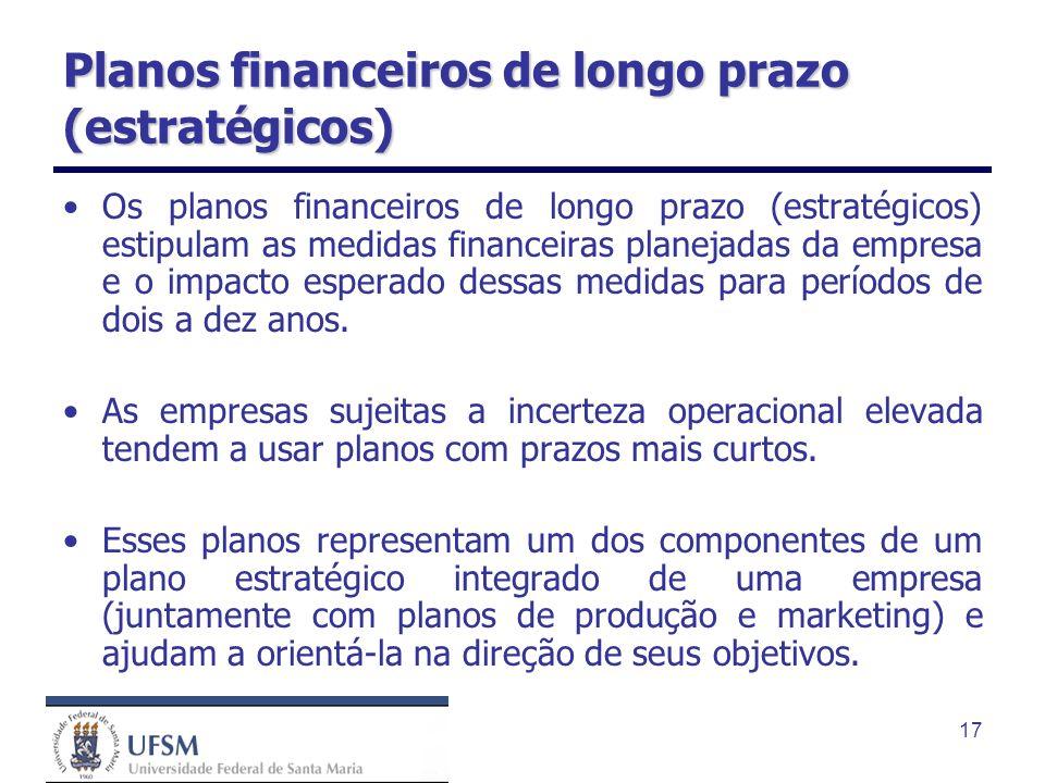 17 Planos financeiros de longo prazo (estratégicos) Os planos financeiros de longo prazo (estratégicos) estipulam as medidas financeiras planejadas da