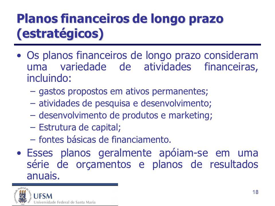 18 Planos financeiros de longo prazo (estratégicos) Os planos financeiros de longo prazo consideram uma variedade de atividades financeiras, incluindo