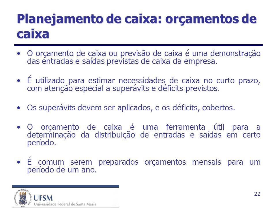 22 Planejamento de caixa: orçamentos de caixa O orçamento de caixa ou previsão de caixa é uma demonstração das entradas e saídas previstas de caixa da