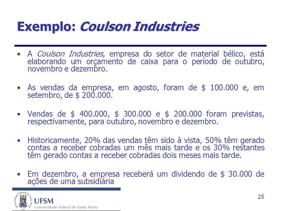 25 Exemplo: Coulson Industries A Coulson Industries, empresa do setor de material bélico, está elaborando um orçamento de caixa para o período de outu
