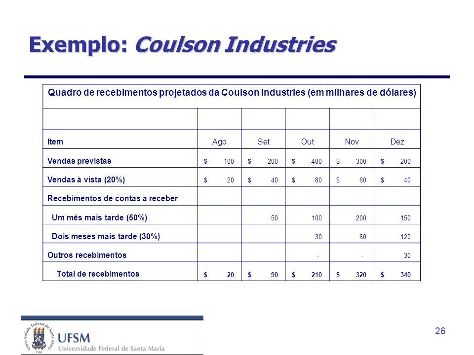 26 Exemplo: Coulson Industries Quadro de recebimentos projetados da Coulson Industries (em milhares de dólares) ItemAgoSetOutNovDez Vendas previstas $