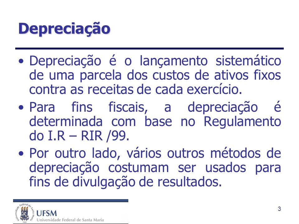 3 Depreciação Depreciação é o lançamento sistemático de uma parcela dos custos de ativos fixos contra as receitas de cada exercício. Para fins fiscais
