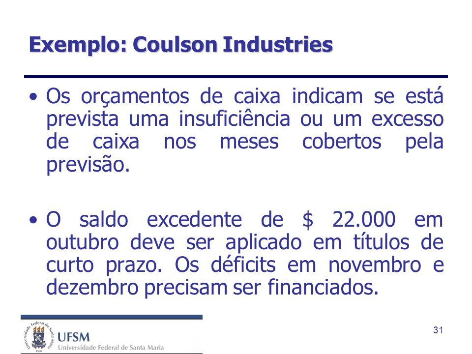 31 Exemplo: Coulson Industries Os orçamentos de caixa indicam se está prevista uma insuficiência ou um excesso de caixa nos meses cobertos pela previs