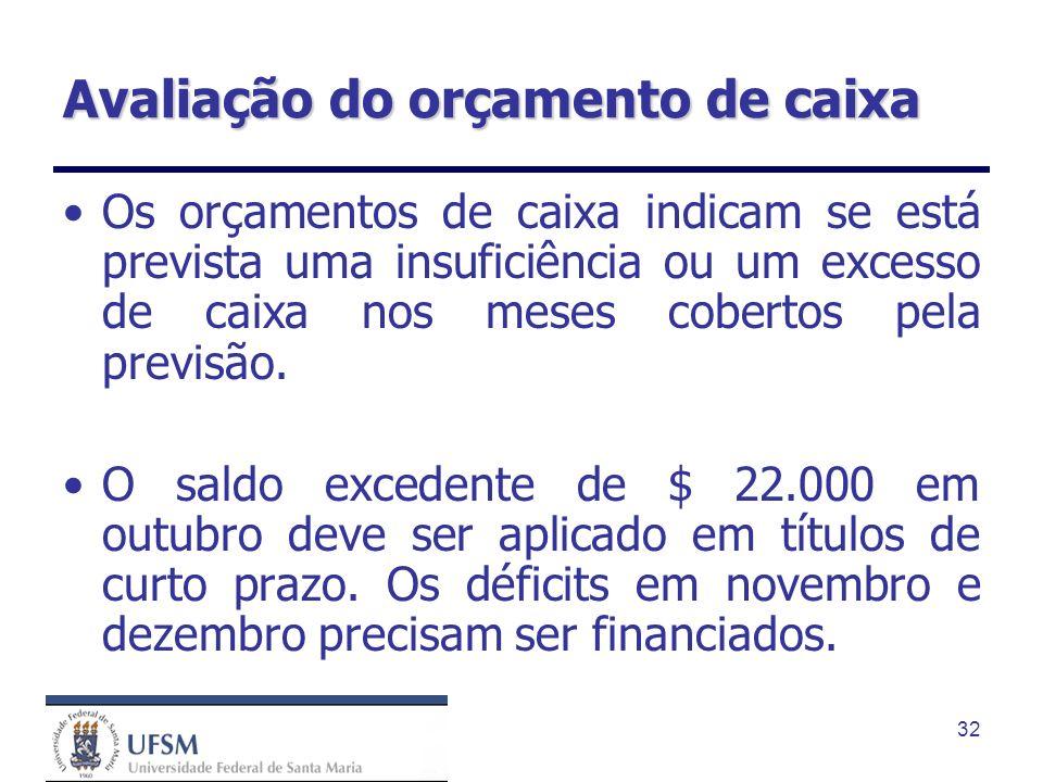 32 Avaliação do orçamento de caixa Os orçamentos de caixa indicam se está prevista uma insuficiência ou um excesso de caixa nos meses cobertos pela pr