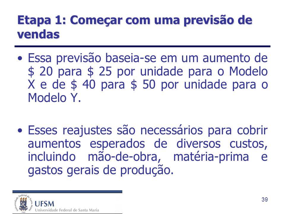 39 Etapa 1: Começar com uma previsão de vendas Essa previsão baseia-se em um aumento de $ 20 para $ 25 por unidade para o Modelo X e de $ 40 para $ 50