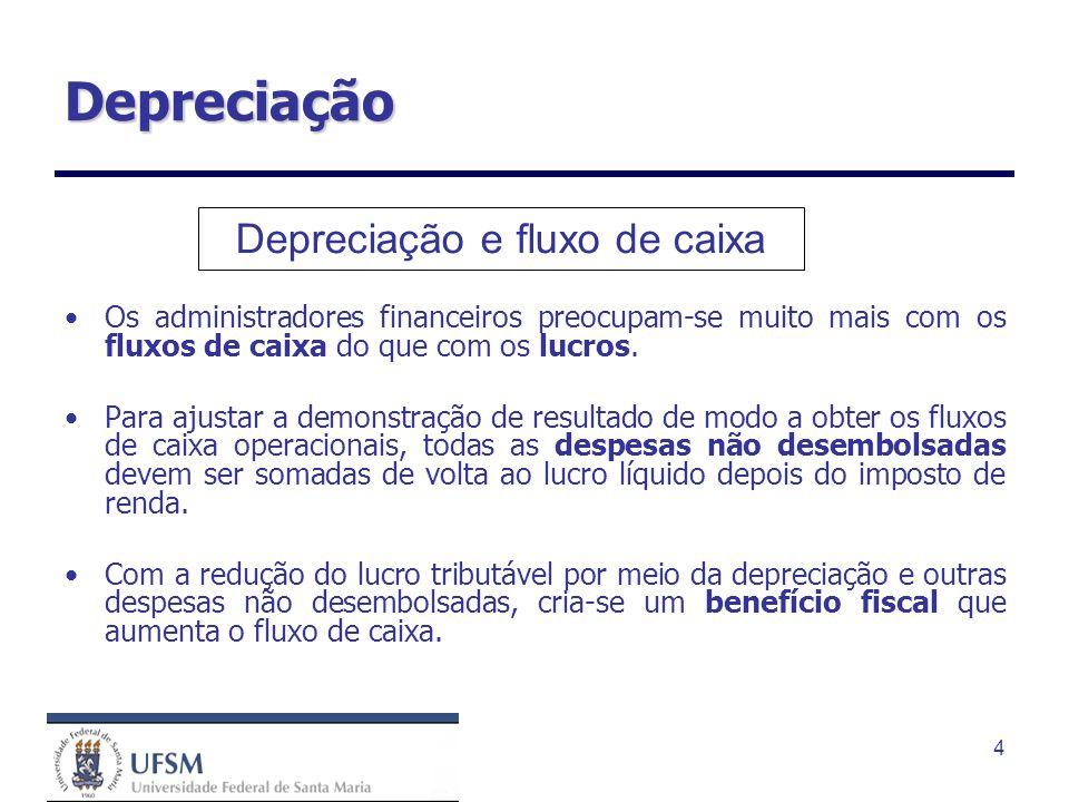 4 Depreciação Os administradores financeiros preocupam-se muito mais com os fluxos de caixa do que com os lucros. Para ajustar a demonstração de resul
