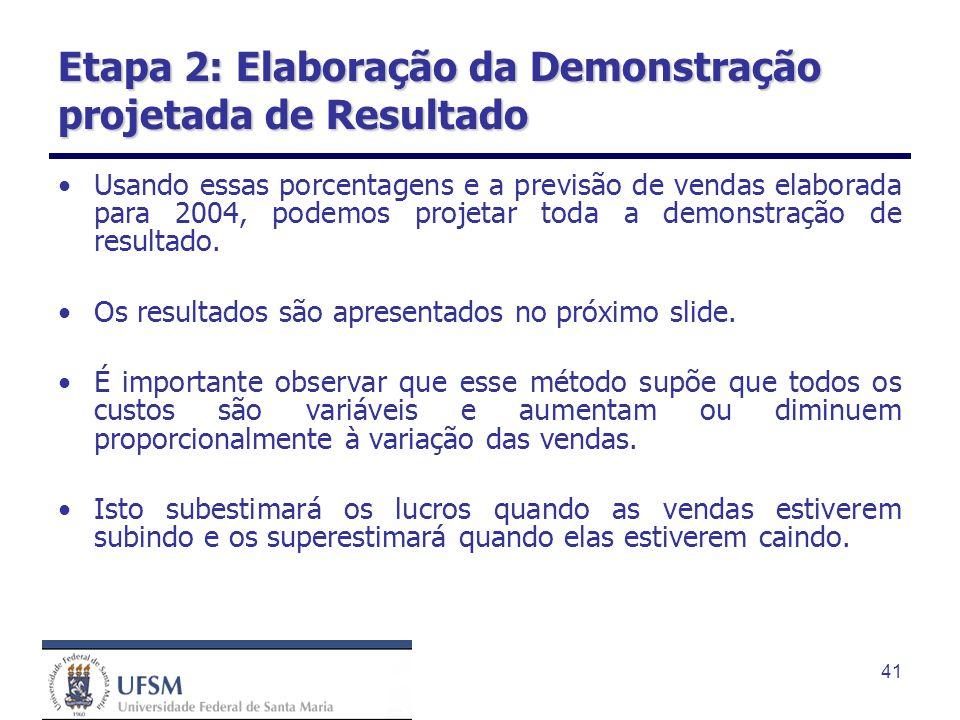 41 Etapa 2: Elaboração da Demonstração projetada de Resultado Usando essas porcentagens e a previsão de vendas elaborada para 2004, podemos projetar t