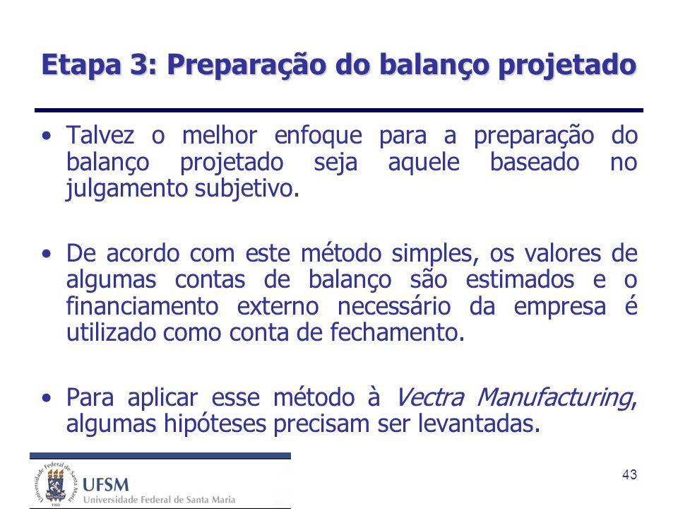 43 Etapa 3: Preparação do balanço projetado Talvez o melhor enfoque para a preparação do balanço projetado seja aquele baseado no julgamento subjetivo