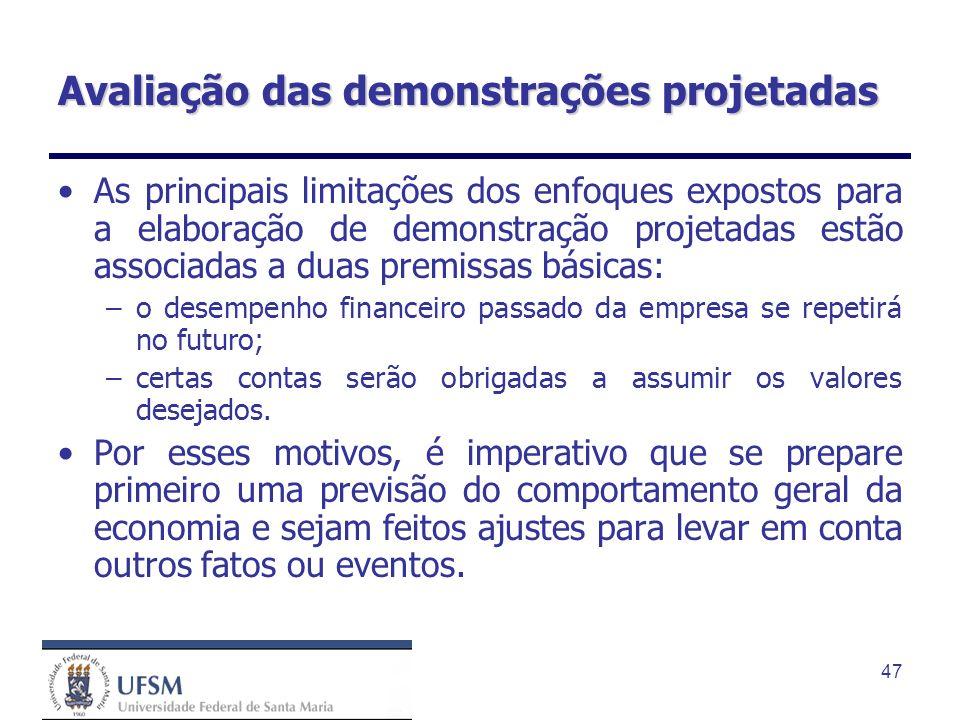 47 Avaliação das demonstrações projetadas As principais limitações dos enfoques expostos para a elaboração de demonstração projetadas estão associadas