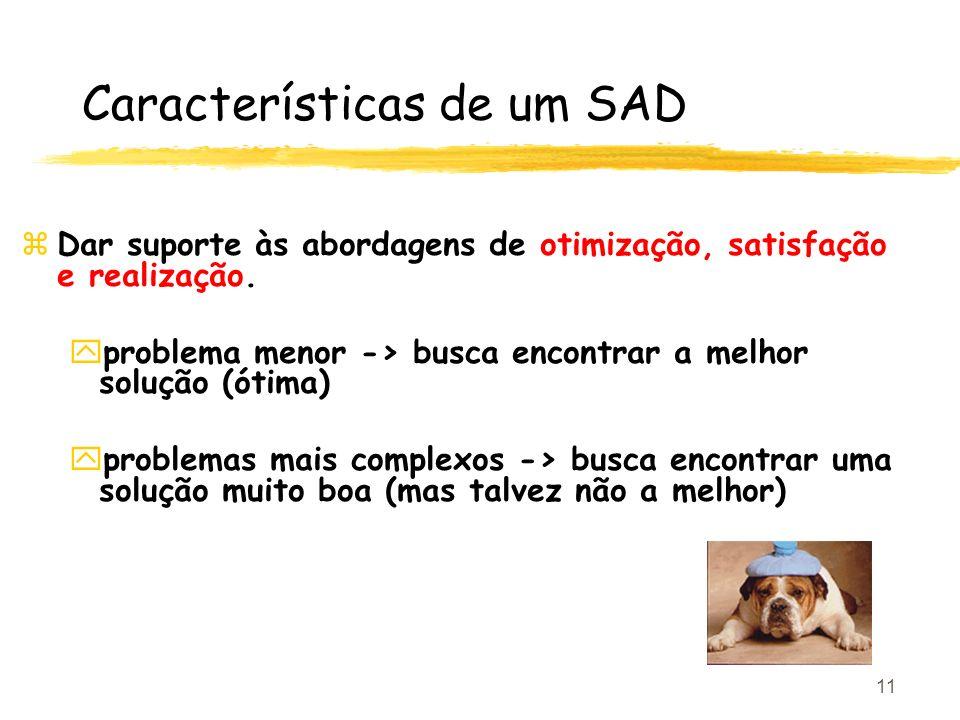11 Características de um SAD zDar suporte às abordagens de otimização, satisfação e realização. yproblema menor -> busca encontrar a melhor solução (ó