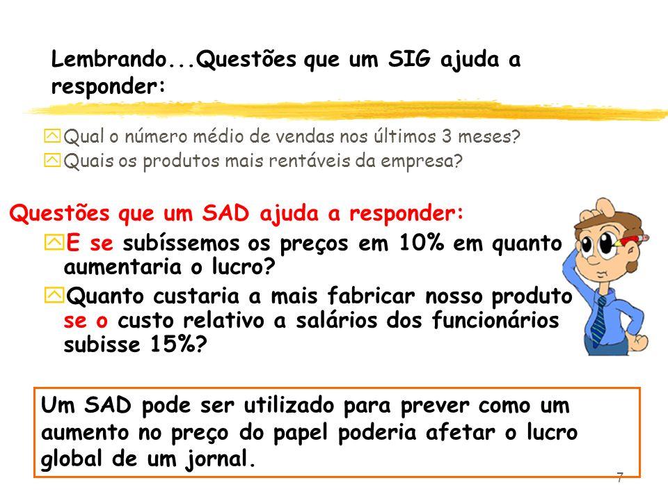 7 Lembrando...Questões que um SIG ajuda a responder: yQual o número médio de vendas nos últimos 3 meses? yQuais os produtos mais rentáveis da empresa?