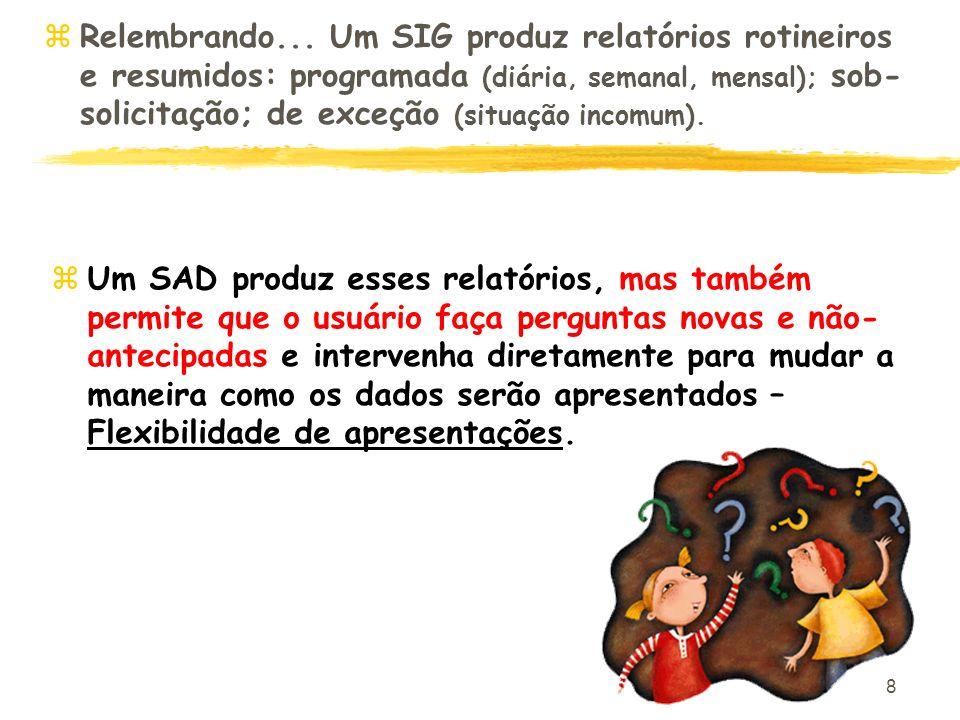 8 zRelembrando... Um SIG produz relatórios rotineiros e resumidos: programada (diária, semanal, mensal); sob- solicitação; de exceção (situação incomu