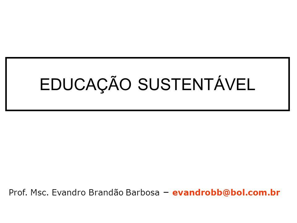 EDUCAÇÃO SUSTENTÁVEL Prof. Msc. Evandro Brandão Barbosa – evandrobb@bol.com.br