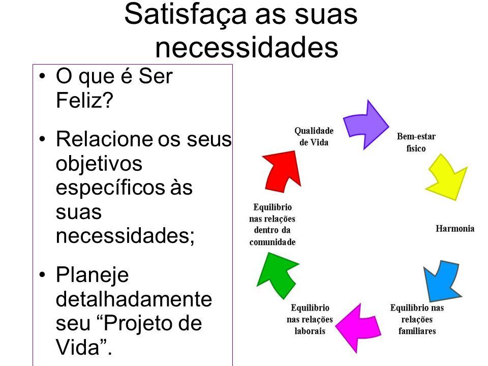 Satisfaça as suas necessidades O que é Ser Feliz? Relacione os seus objetivos específicos às suas necessidades; Planeje detalhadamente seu Projeto de