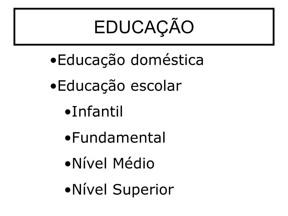 EDUCAÇÃO Educação doméstica Educação escolar Infantil Fundamental Nível Médio Nível Superior
