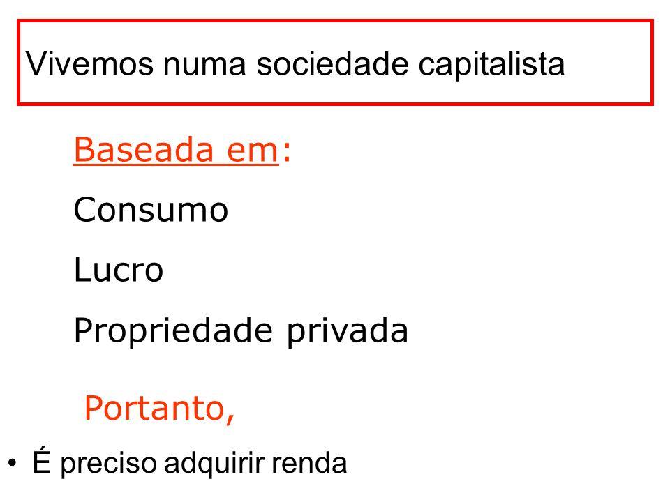 Vivemos numa sociedade capitalista É preciso adquirir renda Baseada em: Consumo Lucro Propriedade privada Portanto,