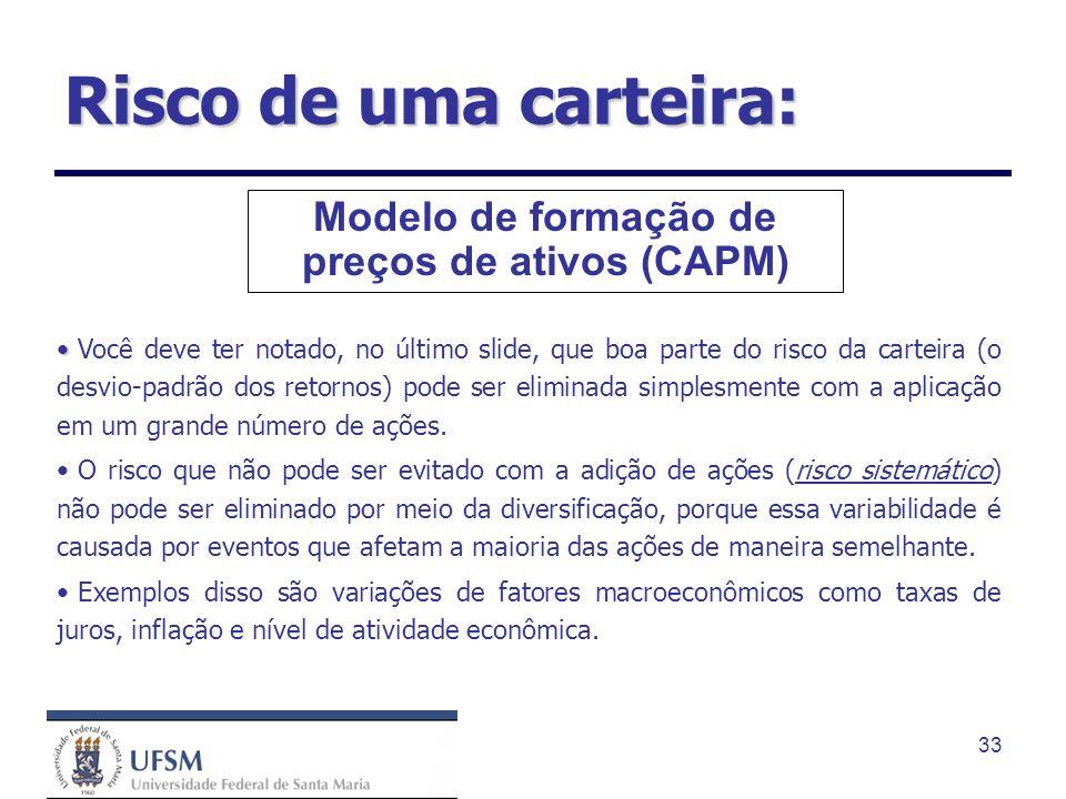 33 Modelo de formação de preços de ativos (CAPM) Você deve ter notado, no último slide, que boa parte do risco da carteira (o desvio-padrão dos retorn