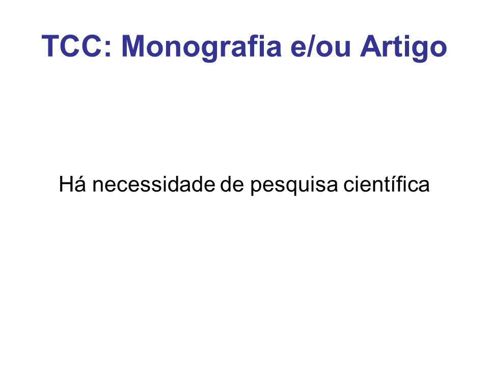 TCC: Monografia e/ou Artigo Há necessidade de pesquisa científica