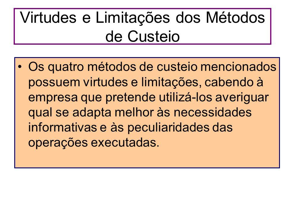 Virtudes e Limitações dos Métodos de Custeio Os quatro métodos de custeio mencionados possuem virtudes e limitações, cabendo à empresa que pretende ut