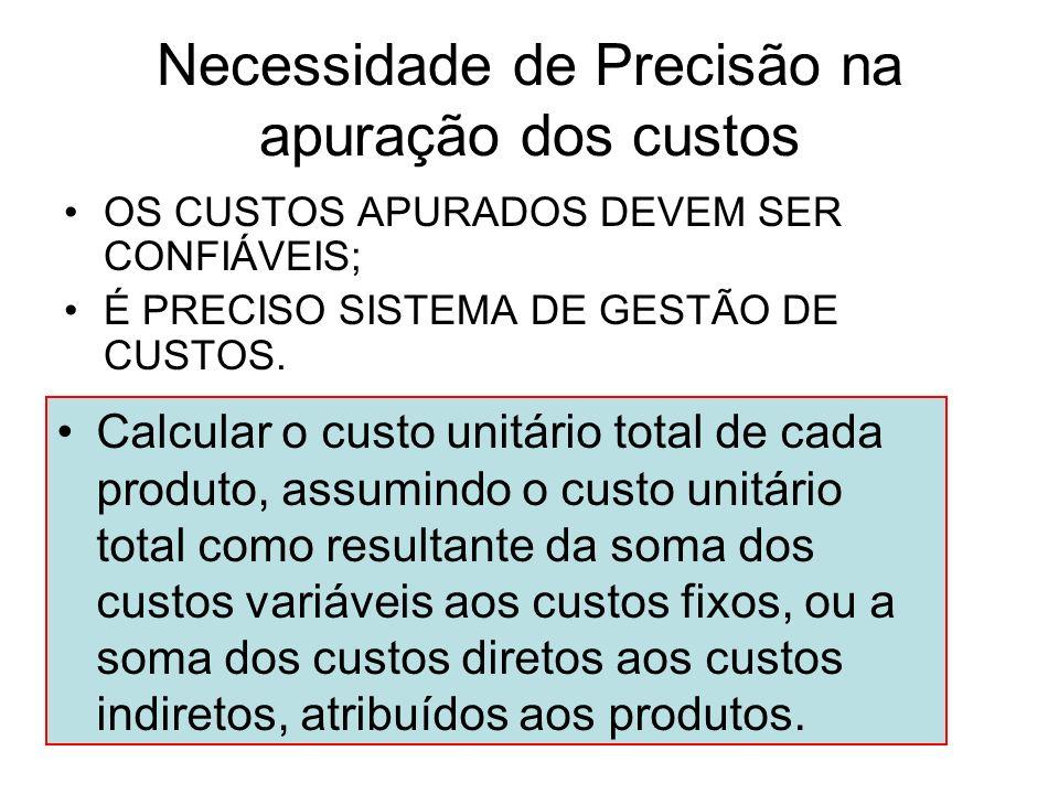 Necessidade de Precisão na apuração dos custos OS CUSTOS APURADOS DEVEM SER CONFIÁVEIS; É PRECISO SISTEMA DE GESTÃO DE CUSTOS. Calcular o custo unitár