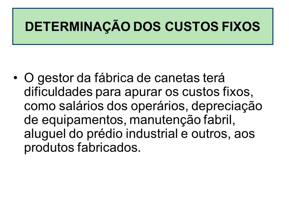 DETERMINAÇÃO DOS CUSTOS FIXOS O gestor da fábrica de canetas terá dificuldades para apurar os custos fixos, como salários dos operários, depreciação d