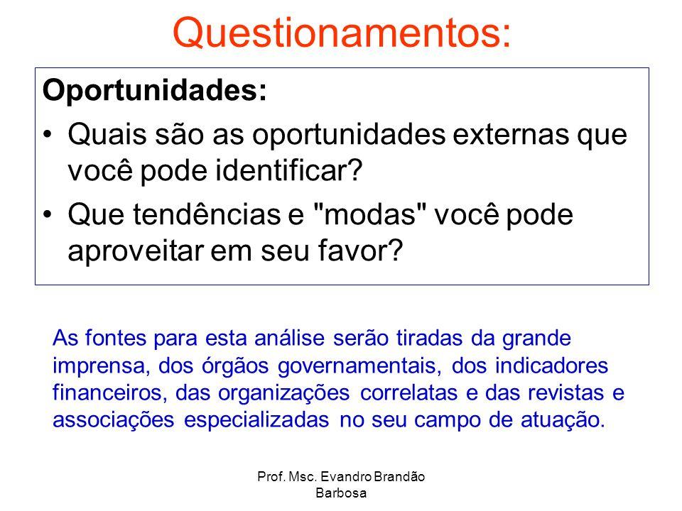Prof. Msc. Evandro Brandão Barbosa Questionamentos: Oportunidades: Quais são as oportunidades externas que você pode identificar? Que tendências e