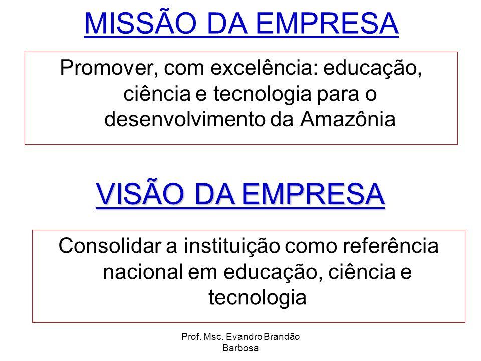 Prof. Msc. Evandro Brandão Barbosa MISSÃO DA EMPRESA Promover, com excelência: educação, ciência e tecnologia para o desenvolvimento da Amazônia Conso