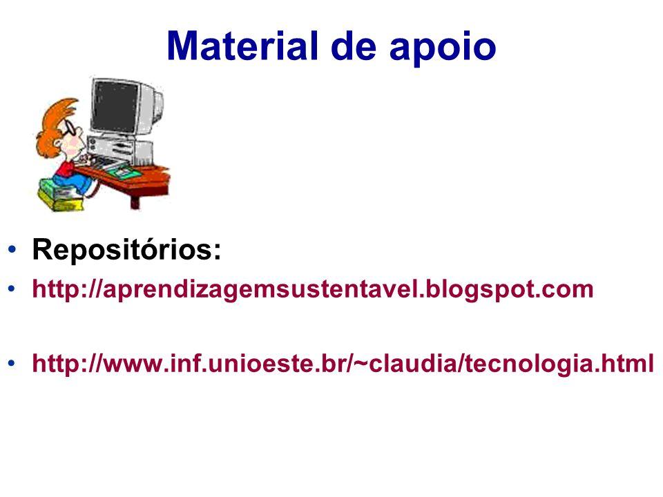Material de apoio Repositórios: http://aprendizagemsustentavel.blogspot.com http://www.inf.unioeste.br/~claudia/tecnologia.html