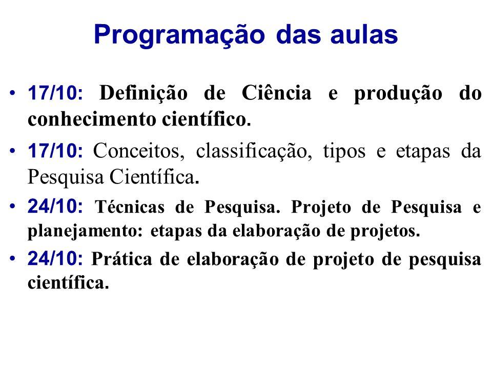 Programação das aulas 17/10: Definição de Ciência e produção do conhecimento científico. 17/10: Conceitos, classificação, tipos e etapas da Pesquisa C